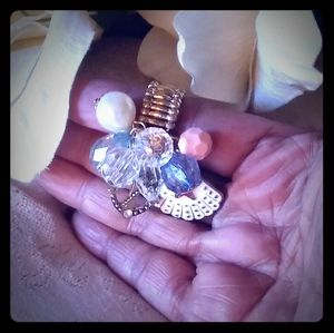 Vintage Charms Cluster Stretch Ring